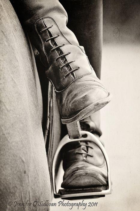 Side Saddle by Jennifer O'Sullivan, via Flickr || BW English saddle stirrup iron and field boots