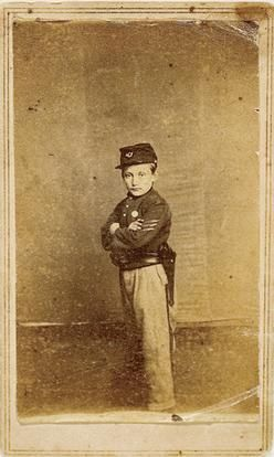 """Here is carte-de-viste of the """"Drummer Boy of Shiloh"""", Johnny Clem. He gained tremendous fame for his said heroic actions at the Battle of Shiloh. According to the legend, Clem was knocked unconscious when a piece of artillery shrapnel hit his drum. Disney produced a film called """"Johnny Shiloh"""" to tell his story during the American Civil War."""