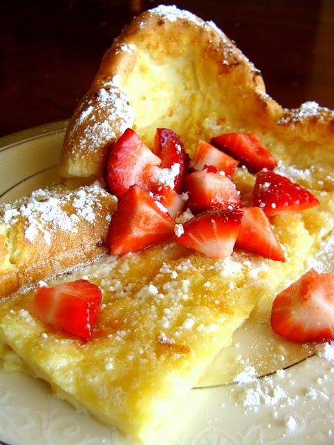 Puffy German Pancake We love these, so fast and easy.  Throw it in the oven go get ready and then breakfast is ready. I do only about 2-3 tbls of butter instead.