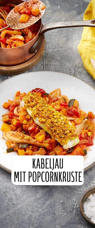 Hauptfarbdesign-bilder draußen kabeljau mit popcornkruste u ratatouille  recipe in   fisch