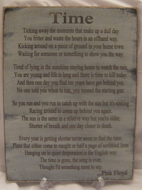 Rustic Sign with Lyrics from Song Time by Pink Floyd by ExpressionsNmore, $39.95