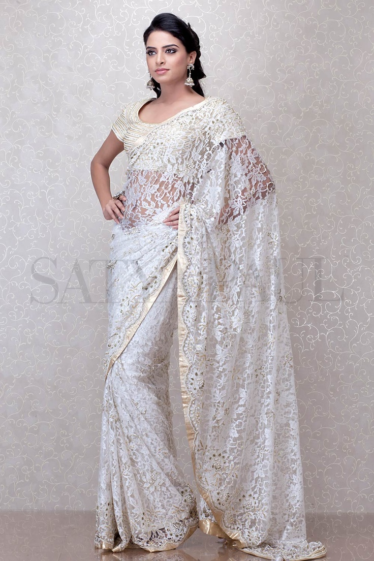 White Saree Tamanna In Veeram: Ivory French Lace Saree