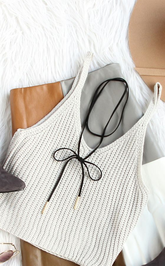 Simple delicate item- Knitted crop tank top for fashion.