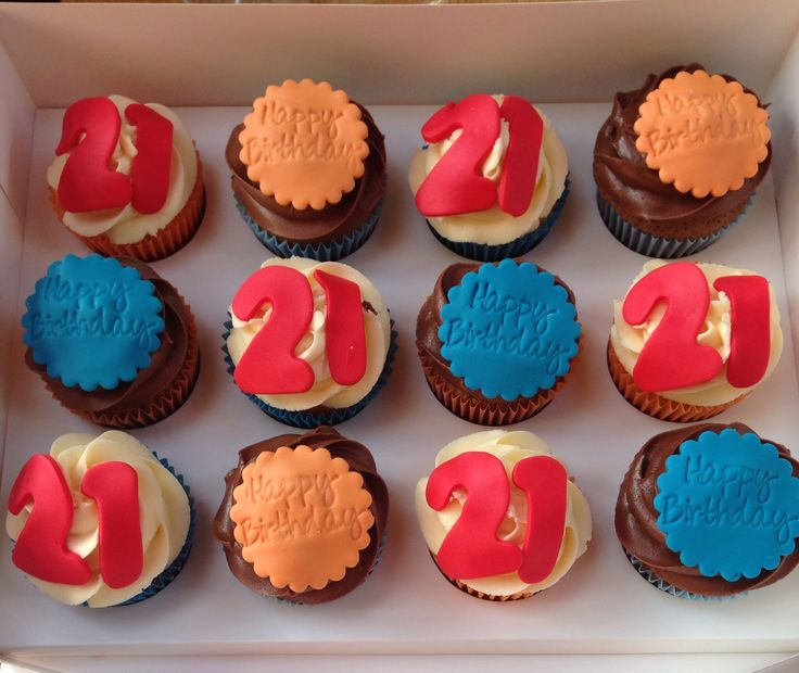 #cupcakes 21st Birthday Cupcakes #blue #orange #red