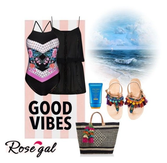 """Summer!!"" by paoladouka on Polyvore featuring PBteen, ELIZABETH HURLEY beach, Mar y Sol, Elina Linardaki and Shiseido"