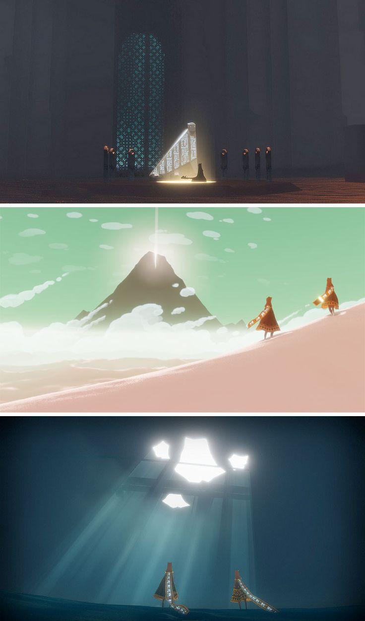 http://theconceptartblog.com/2012/09/04/arte-do-game-journey-da-thatgamecompany/