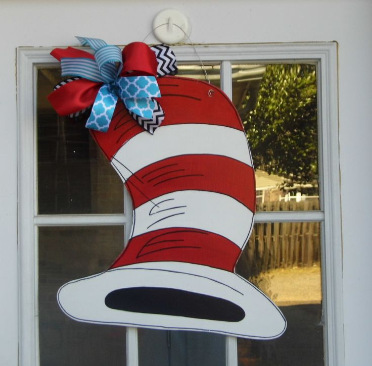 Cat in the Hat, Red and White Stripe Hat,  Dr. Suess, Child's Nursery, Teacher's Classroom, Door Hanger by HolidaysAreSpecial on Etsy