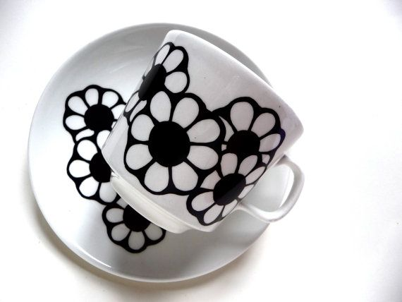 Johnson Australia Black and White Cup and Saucer Set
