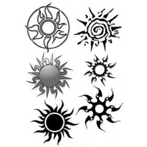 Tribal coin tattoo tatouages temporaires tribal tatouage autocollant soleil tribal - Tatouage soleil femme ...