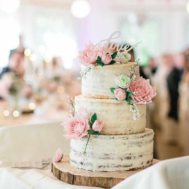 Hochzeitstorte mit echten Blumen, Naked Cake, dreistöckig, Hochzeitstorte ohne …