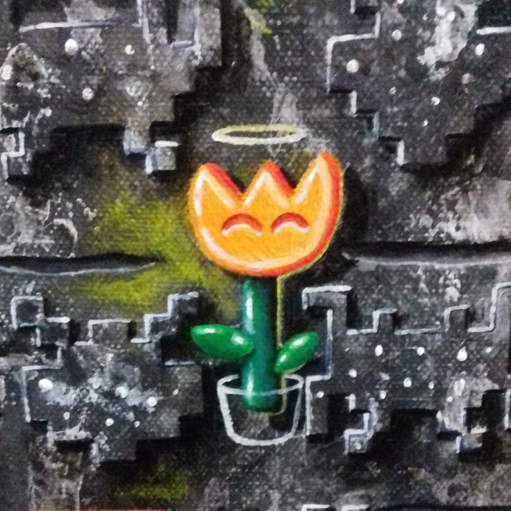 my painting, lowbrow, fire flower, space invader, texture