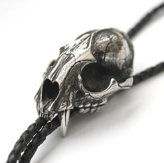 Silver Wild Cat Skull Bolo Tie on Genuine Black Braided by mrd74