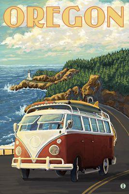 VW Van Cruising the Oregon - Lantern Press Poster