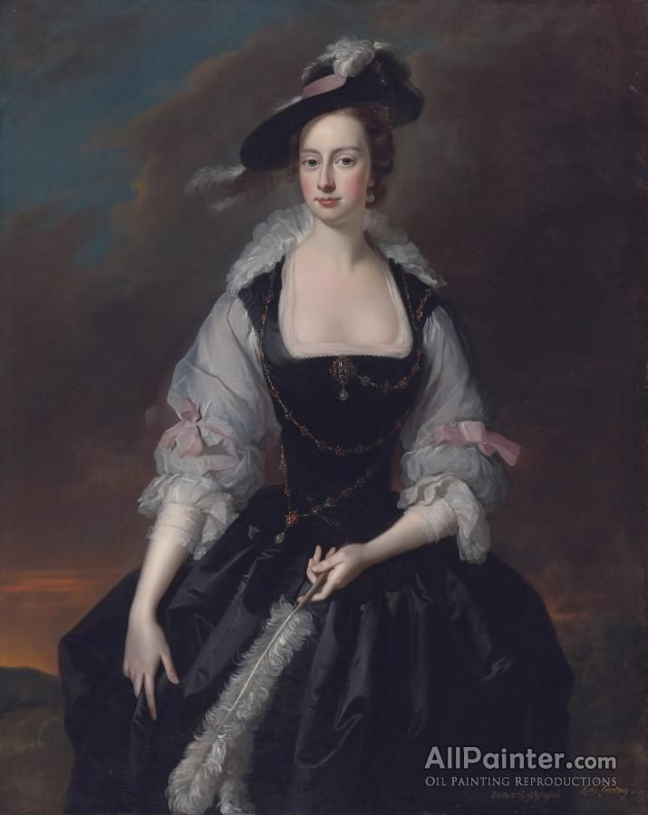 Thomas Hudson,Portrait Of Lady Frances Courtenay, Wife Of William Courtenay, 1st Viscount Courtenay oil painting reproductions for sale