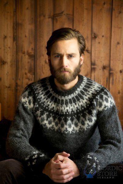 Grey hand knit sweater from 100% Iceland wool yarn.