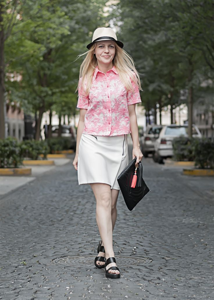 pink palm print shirt biker skirt tassel clutch hat cuban tropical caribbean look EPIC STREET STYLE by Gabriella