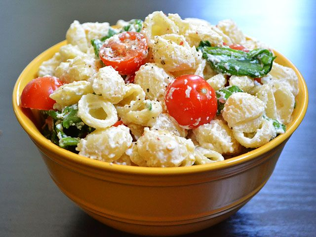 Roasted Garlic Pasta Salad - no mayo in this recipe btw...the creaminess is ricotta cheese!   Apparently I'm hungry...