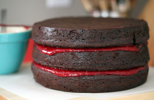Double chocolate cake with raspberry filling :O I must try this one ...