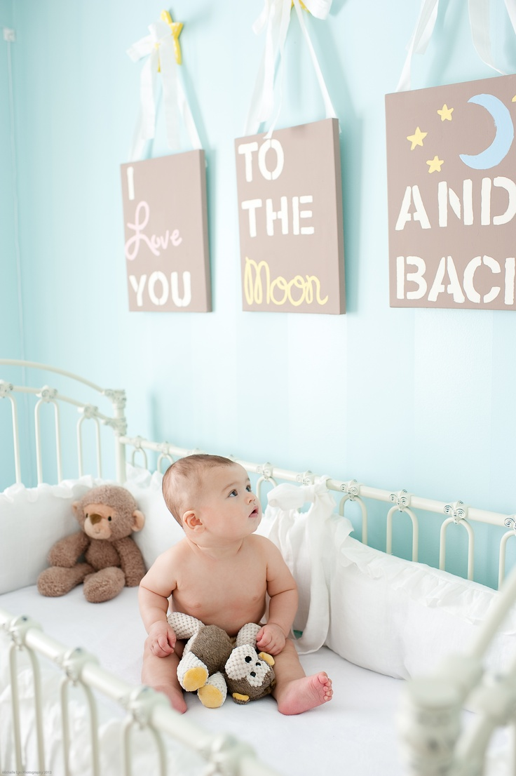 I love you to the moon and back... Nursery Art