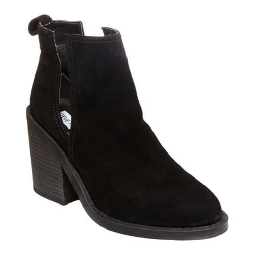 The Steve Madden Sharini bootie takes a contemporary turn with deep, daring side slits and a bold, chunky stacked heel. Round toe Contrast stitching Slip-on styling with back pull tab High, chunky sta