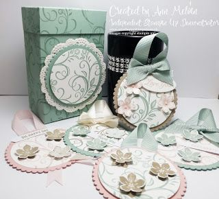 Independent Stampin up! Demonstrator. Falling Flowers & Petite Petals Circle Gift tags with matching gift box