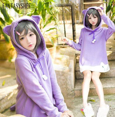 Cute kawaii cats ears hooded fleece