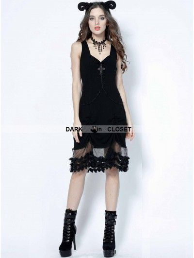 Dark in Love Black Gothic Cross Chain Sleeveless Dress