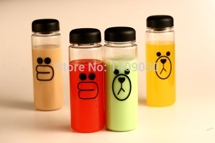 Free shipping New plastic cup water bottle pattern=Sally chicken/Brown bear sports bottle water cute caramanhola garrafa de agua