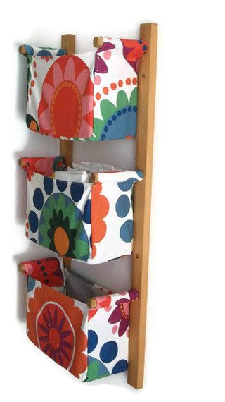 inspiration ~ Wall hanging organizer - with 3 fabric bins - Colourful flowers and circles, funny and cheerful fabric (IKEA FREDRIKA)