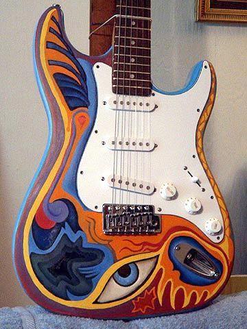 Cool Graphic Rockin Robyn Custom Painted Guitars