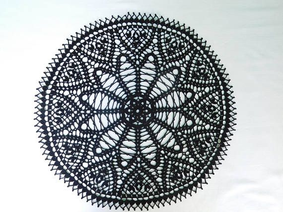 Black crochet tablecloth 43 cm or 16.93 black doily