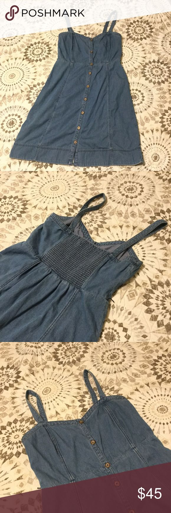 💠Anthropologie Versatile Denim Dress💠 Is this pretty lil jean dress looking for a sassy pair of cowgirl boots? Or a favorite band tee and bangles for an edgy look? This amazing dress is from Anthropologie and is incredibly versatile. The smocked back on this dress makes it fitted to perfection. True to size 10, listed as 12, but fits slightly larger w/ the stretchy back. Please: 🚫 No Trades 🚫 No Lowballing 🚫 No Offers Through Comments ✅ Do Make Offers Through Offer Button ✅ Do Ask Any…
