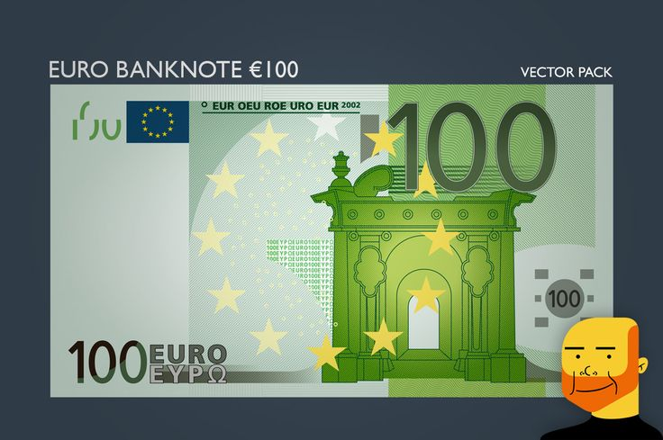 Euro Banknote €100 (Vector) by Paulo Buchinho on Creative Market