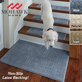 Stay-put Rugs @ Fresh Finds- a non-slip latex backing, they won't slip or slide —even on hardwood floors. Just toss in the wash for easy cleaning. Set of four stair treads can be placed right on stairs-no sliding/slipping