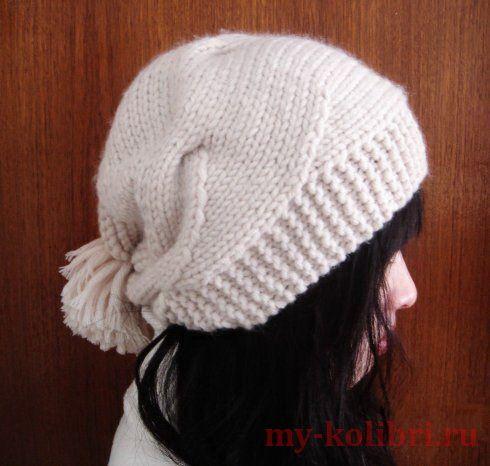 Интересная модная вязаная женская шапка. Из китайского журнала. Связана спицами. Вяжется очень просто. Внимательно ознакомьтесь с описанием, и приступайте вязать!