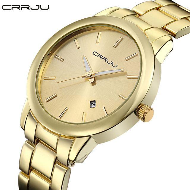 2016 New High Quality Women Dress Watch CRRJU Luxury Brand Stainless Steel Watches Fashion Wrist Gift Watch Men Wristwatches