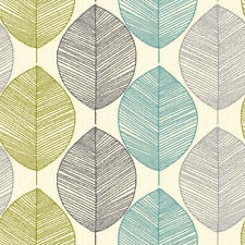 Teal / Lime Green 408207 Retro Leaf Arthouse Wallpaper