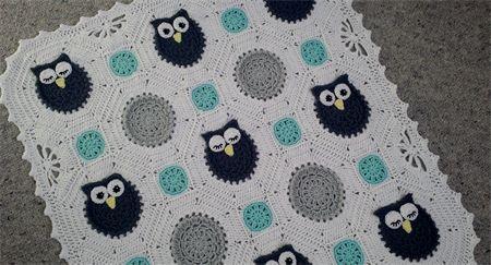 Crochet Owls Baby Blanket