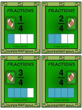 American Football Style Fractions Flash Cards - LARGE PACK TO SUIT ALL NEEDS (2-6)    American Football Style Fractions Flash Cards  300 fraction challenge cards (A combo of various packs)  - 4 cards per A4 sheet  - Cards range from mixed style cards, to simple fractions and divided rectangles for comparing.   - Designed specifically to print and laminate in color/ colour  - 75 page resource