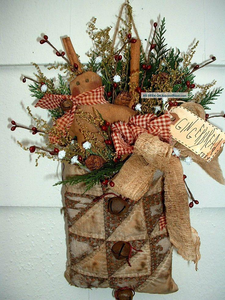 Prim Vintage Quilt Bag Gingerbread Cinnamon Primitives photo