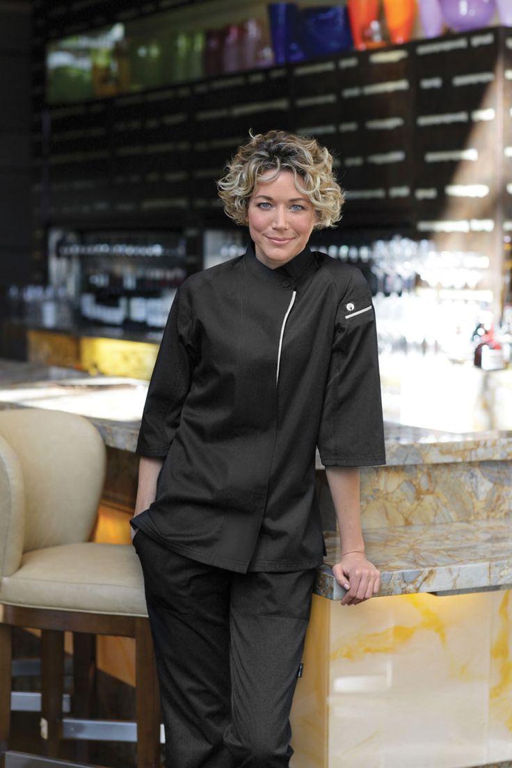 Chef works cool vent verona womens chefs jacket black for Uniform verona