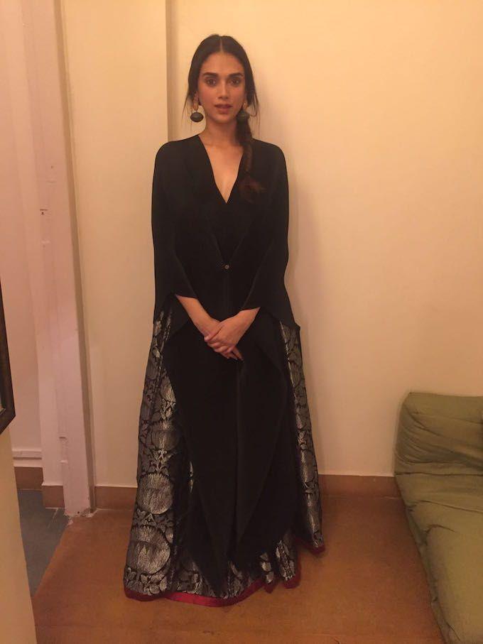 Aditi Rao Hydari wearing a limited edition black brocade lehenga with a pleated…