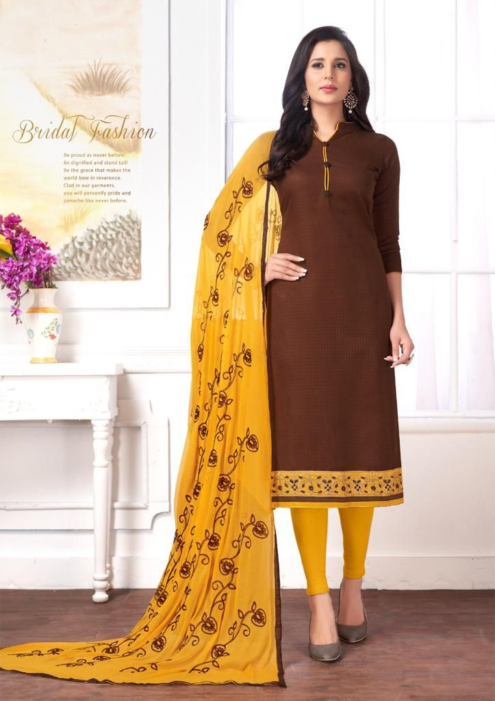 e7d8909573 Admirable Brown Color Party-wear Embroidered Cotton Dress in 2019 ...