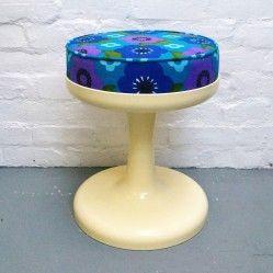Re-upholstered Friedrich Stuckenbroker stool www.vintageactually.co.uk