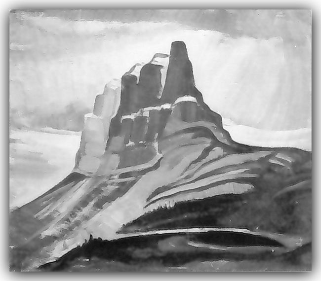 Ina Uhthoff,  Castle Mountain, 1943, Oil on canvas board