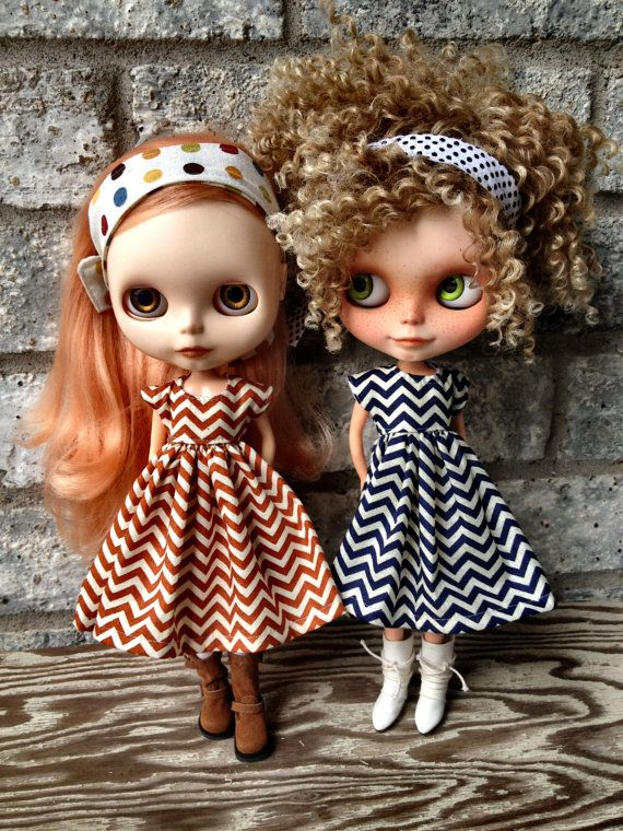 dolly molly RUST CHEVRON dress and tie for blythe doll 12""