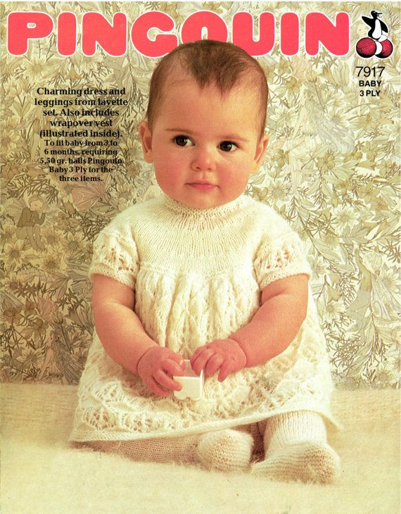 PDF Vintage Baby Girl Dress Knitting Pattern Pinguoin 7917