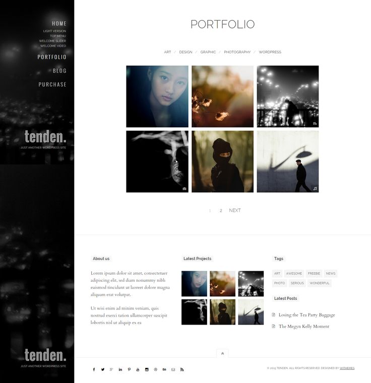 Tenden supports all popular type of portfolio slideshow, YouTube video, Vimeo video, Soundcloud, Self-hosted video and audio as well.