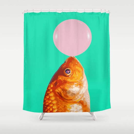 Customize your bathroom decor with unique shower curtains designed by artists around the world. Made from 100% polyester our designer shower curtains are printed in the USA and feature a 12 button-hole top for simple hanging. #curtains #showercurtains #decor #homedecor #graphic-design #digital #bw #contrast #pop-art #stars #universe #eye #fish #fishes #animal #orange #green #pink #minimal #concept