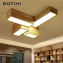 BOTIMI DIY Rechthoek Massief Hout Plafondverlichting Voor Woonkamer Moderne Houten Plafondlamp Vierkante Keuken Verlichtingsarmaturen